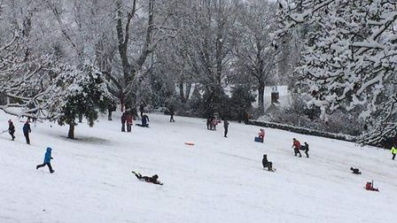 People of all ages took to the hill in Castle Park with their sledges. Picture: MARIANNE INKPEN