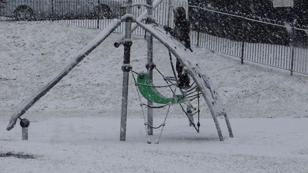 Snow at Pinewood in Ipswich this morning. Picture: PAUL BARRETT-NAYLOR