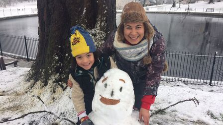 Shelly Darwin and son, Riaz Darwin-Boyd made this snowman by the round pond in Christchurch Park. Pi