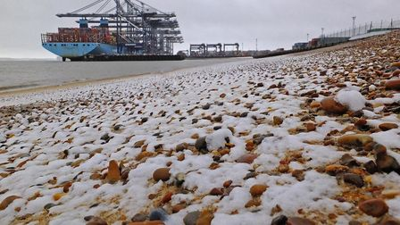 After all the hype the snow has little effect in Felixstowe :( Picture: Stephen Squirrell