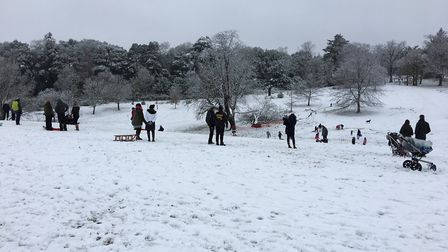 Perfect sledging conditions in Christchurch. Picture: Sam Dawes