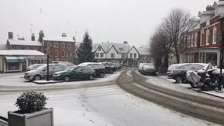A snowy Market Hill, Framlingham. Picture: ANDREW HIRST