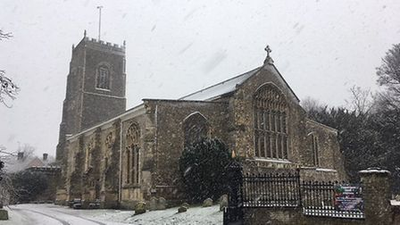 Framlingham Church in the snow. Picture: Andrew Hirst