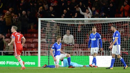 Adam Webster voices his frustration after Patrick Bamford scored Middesbrough's second on Saturday.