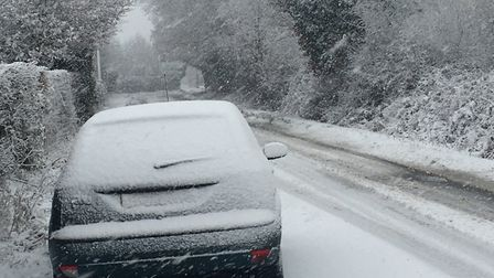 Snow falls in Boxted. Picture: Will Lodge
