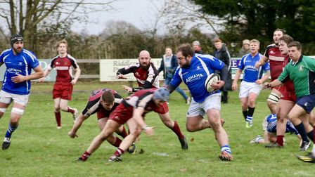 Diss on the attack in their entertaining draw with Amersham. Picture: JOHN GRIST