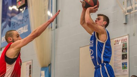 Cameron Hawes takes a three pointer for Ipswich. Picture: PAVEL KRICKA