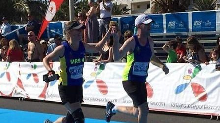 Paul about to cross the finish line during his 200th marathon in Lanzarote. Picture: PAUL BRIDGES