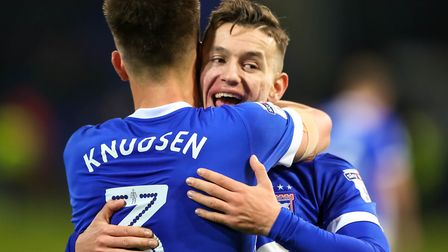 Bersant Celina celebrates with Jonas Knudsen after the 4-2 victory over Nottingham Forest. Pictur
