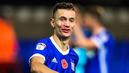 Bersant Celina at the final whistle after a 3-0 home win against Preston. Picture: STEVE WALLER