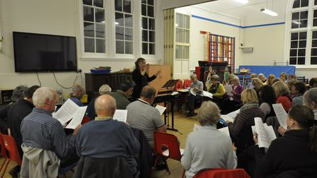 Members of Sing Out Yoxford pictured at a recent rehearsal. Picture: SING OUT YOXFORD