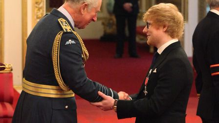 Suffolk star Ed Sheeran is made an MBE (Member of the Order of the British Empire) by the Prince of
