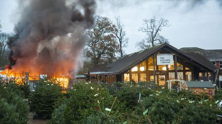 The fire which destroyed Santa's grotto at Notcutts garden centre last weekend