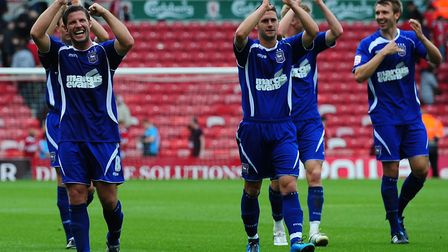 The Ipswich players celebrate their win at Middlesbrough at full-time. Picture: PA