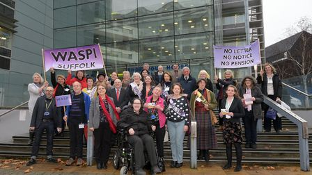 WASPI (Women Against State Pension Increase) campaigners meeting outside Endeavour House ahead of a