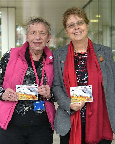 Councillors Caroline Page and Mandy Gaylard outside Endeavour House. Picture: SARAH LUCY BROWN