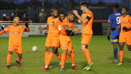 Celebrations following Phil Roberts' second goal, which put Braintree Town 2-1 up against Eastbourne