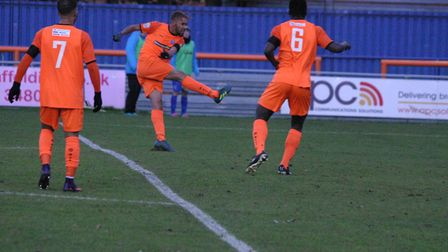 Phil Roberts drills in Braintree Town's first goal during the 3-2 home win over Eastbourne Borough.