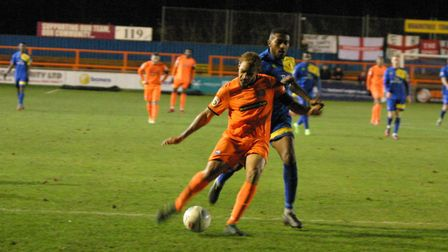 Braintree attacker, Phil Roberts, fires in an injury-time shot on Saturday. Roberts scored twice in
