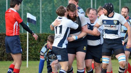 Chelmsford celebrate a try during their first win of the season against Old Cooperians. Picture: CHE