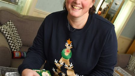 Jayne Green from Ipswich Christians Against Poverty is preparing Christmas hampers. Picture: GREGG B