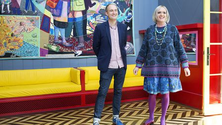 Grayson Perry with Charles Holland of FAT Architecture, who worked together on the Wrabness house Ph