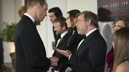 The Duke of Cambridge and Prince Harry meet members of the cast, including Mark Hamill, as they atte
