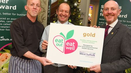 Presentation of the 50th West Suffolk Eat Out, Eat Well award. Left to right, Andy Larkin (Head Chef