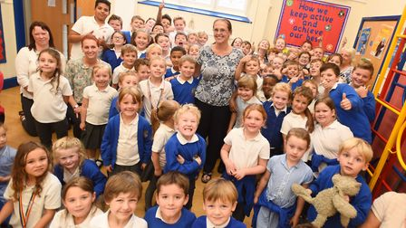 Copdock Primary celebrating maintaining its outstanding Ofsted rating. Picture: GREGG BROWN