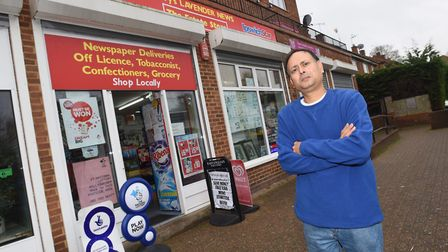 Newsagent Hirenkumar Patel outside his shop Lavender News, which was stolen from three times in four