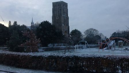 St Edmunds Church surrounded by a dusting of snow. Picture: JEREMY REEVE
