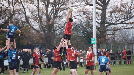 Liam Pickett takes well from the line-out for Colchester. Picture: JANUS@VANCOLS.COM