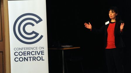 Min Grob speaking at the Conference on Coercive Control at the Theatre Royal in Bury St Edmunds. Pic