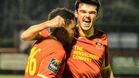 Needham's Ryan Gibbs (9) celebrates his goal against Staines with Rhys Henry (16). It wasn't enough