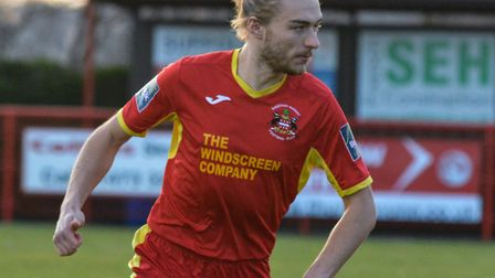 Needham's man of the match Keiran Morphew during their home defeat to Staines. Picture: BEN POOLEY