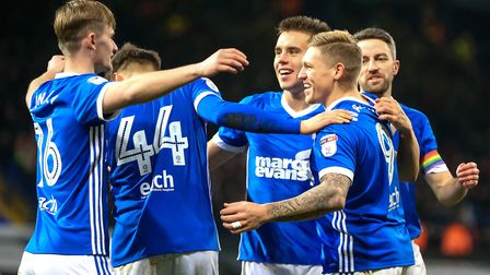 Martyn Waghorn celebrates with team-mates after his goal in Ipswich Town's 4-2 home win against Nott