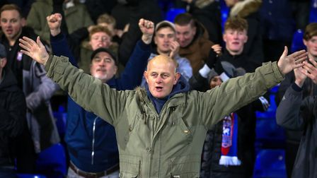 Town fans celebrate the 4-2 victory over Nottingham Forest. Picture: STEVE WALLER