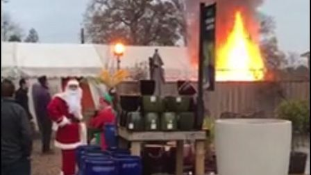 The fire at the Santa's grotto marquee at Notcutts in Woodbridge. Picture: MARK LING