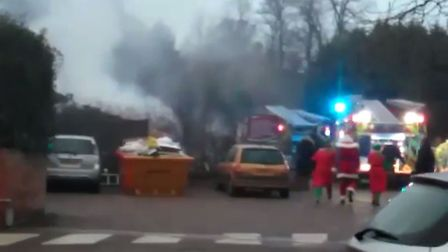 Fire crews at the scene of the marquee fire at notcutts in Woodbridge. Picture: TERESA GOODCHILD