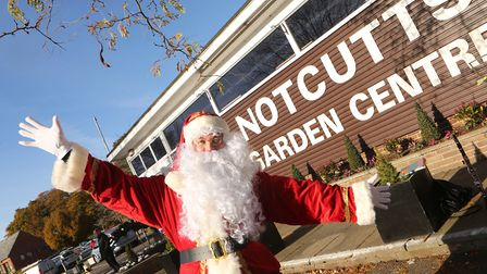 Santa on his arrival at Notcutts Garden Centre in Woodbridge last month - sadly he has been left tem