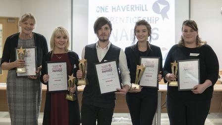 Previous winners at Haverhill Apprenticeship Awards ceremony.