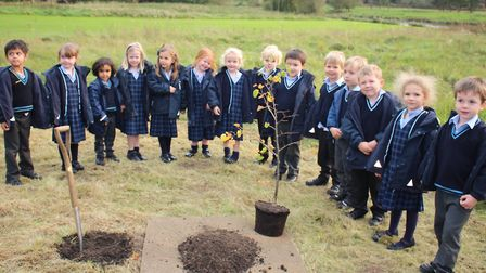 Culford pre-prep students plant the tree to mark their first day at school. Picture: CULFORD SCHOOL
