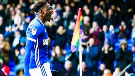 Dominic Iorfa celebrates after heading Town into a 2-1 lead against Forest. Picture: STEVE WALLER