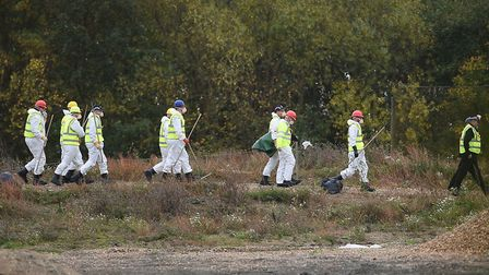 Search teams at the landfill site in Milton, Cambridgeshire, which is near to the site of the origin