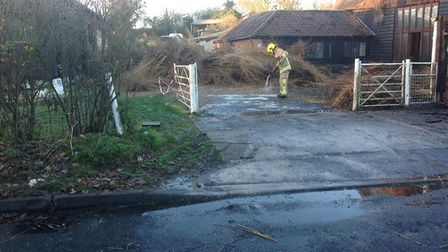 At the height of the blaze, 29 fire crews were at the scene in Halesworth Road in Chediston. Picture