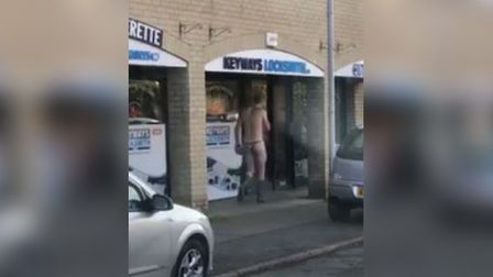 The man seen in Bury St Edmunds wearing just a thong and Wellington boots
