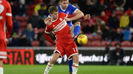 Adam Webster wins a challenge with Middlesbrough's Patrick Bamford. But were Town too defensive at t