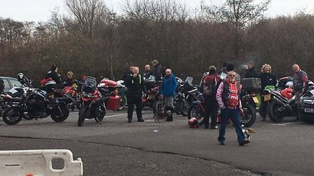 Bikers line up for the annual toy run to the West Suffolk Hospital from Barton Mills.
