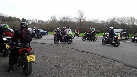 Bikers leave for the annual toy run to the West Suffolk Hospital from Barton Mills.