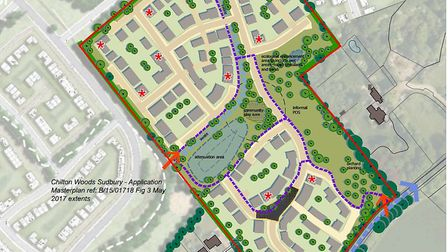 An artists impression of the plans for 130 new homes in Waldingfield Road, Sudbury